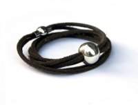 Leather bracelet with large sterling silver bead