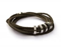 Leather bracelet with large Stainless steel rings